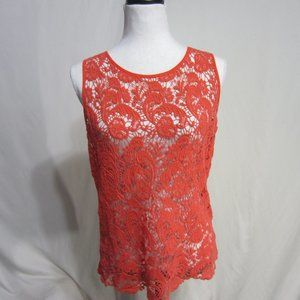 BURNT ORANGE LACE SHEER TO SZ SMALL BY CYNT ROWLEY